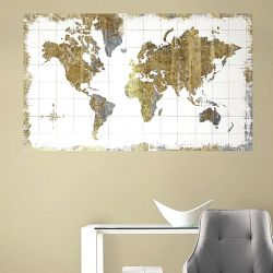 Αυτοκόλλητο πάνελ Gold Map Peel and Stick Wall Mural
