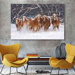 Πίνακας σε καμβά Herd of running haflinger horses in the winter