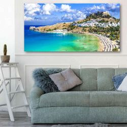 Πίνακας σε καμβά panoramic view of Lindos bay, village and Acropolis, Rhodes