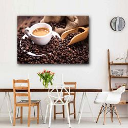 Πίνακας σε καμβά Coffee with black roasted dark coffee beans